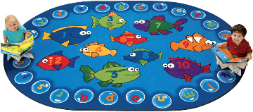 "Fishing For Literacy Carpet  ( 3' 10"" X 5' 5"" Oval )"