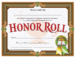 Certificates Honor Roll 30/Pk
