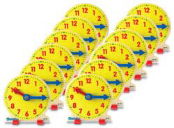 "4"" Wooden Big Time Learning Clock (Set Of 12)"