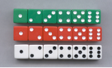 DOT DICE 6 EACH OF RED, WHITE, AND GREEN