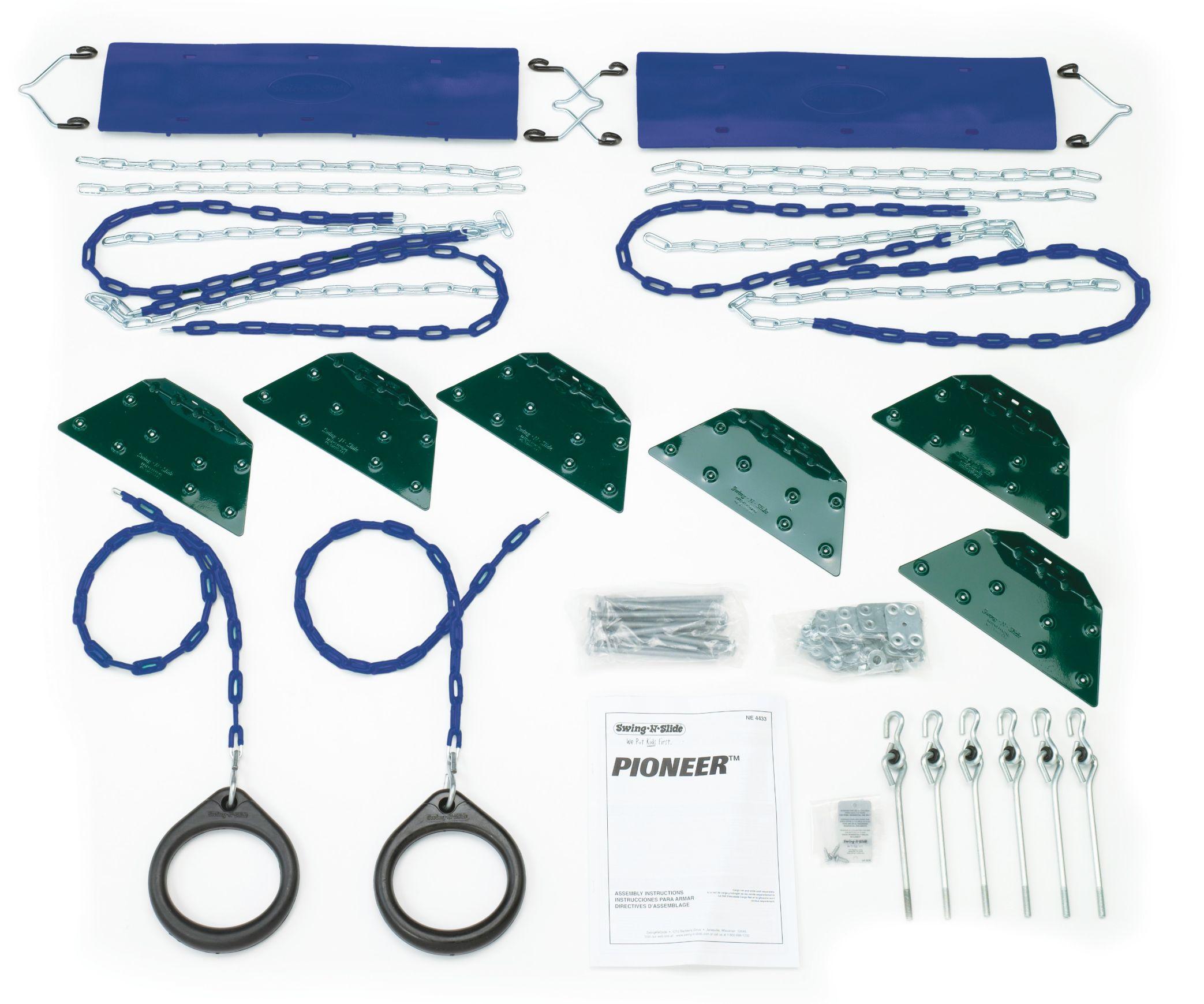 Pioneer diy play set hardware kit swing n slide wooden swing set kit