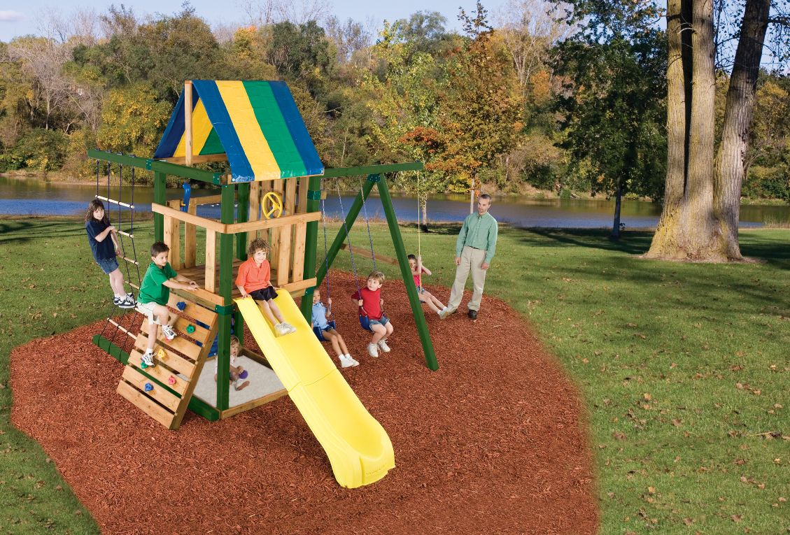 Detailed Play systems forts swing sets swings and slides